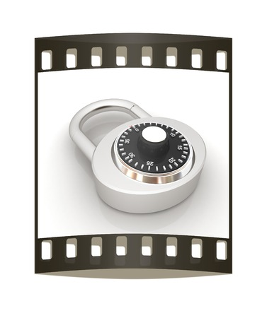 pad lock: Illustration of security concept with chrome locked combination pad lock on a white background. The film strip