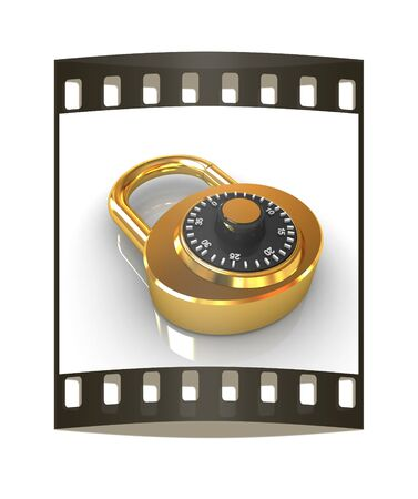 combination: Illustration of security concept with gold locked combination pad lock on a white background. The film strip