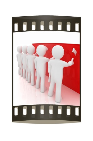 3d mans painting wall with paint brush on a white background. The film strip photo