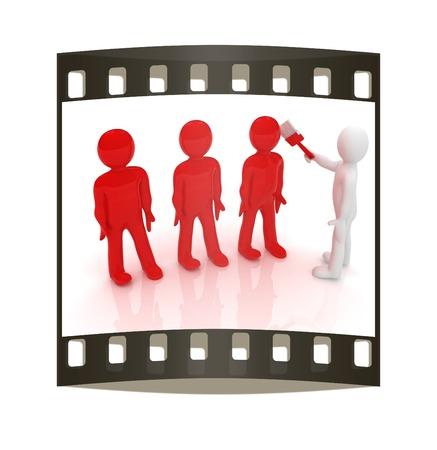 human character: 3d la gente - carattere umano, persona pittura con la vernice. Illustrazione di rendering 3D. La striscia di pellicola