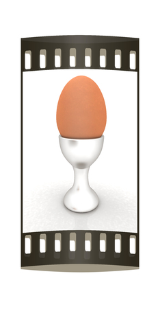 egg cups: Easter egg on egg cup. The film strip Stock Photo