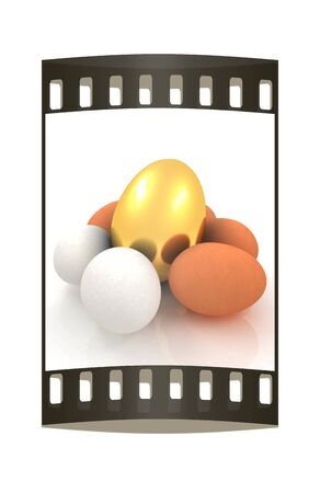 egg cups: Eggs and gold easter egg. The film strip