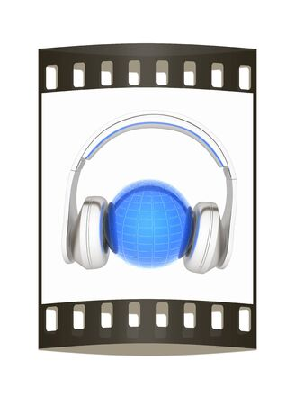 abstract 3d illustration of earth listening music. The film strip illustration