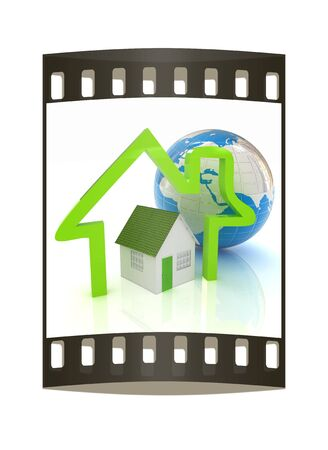 3d green house, earth and icon house on white background. The film strip