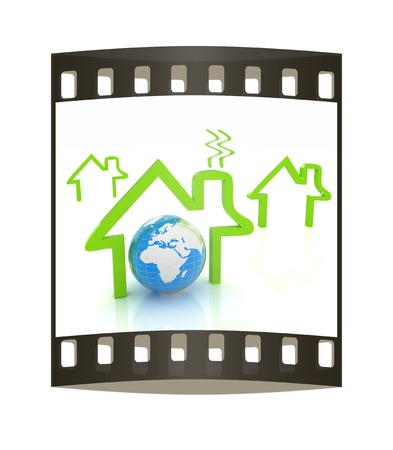 habitable: earth and icon house on white background. The film strip