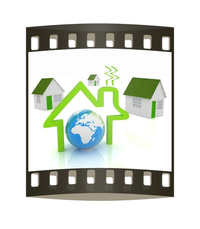 single dwellings: 3d green house, earth and icon house on white background. The film strip