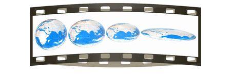 degradation: Deformed earth.Concept of degradation. The film strip Stock Photo