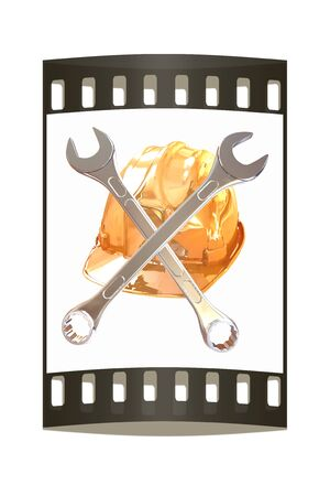 The protective helmet working and crossed wrenches. The image of a skull and bones on a white background. The film strip Reklamní fotografie - 39939862