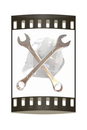 The protective helmet working and crossed wrenches. The image of a skull and bones on a white background. The film strip Reklamní fotografie - 39939863
