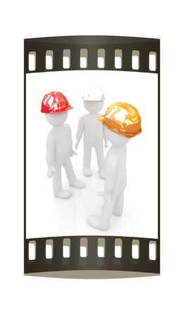 it professional: 3d mans in a hard hat on a white background. The film strip