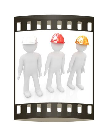 fixer: 3d mans in a hard hat on a white background. The film strip