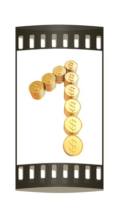 Number one of gold coins with dollar sign isolated on white background. The film strip photo