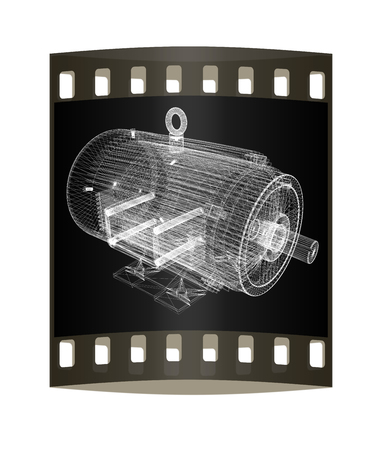 electric motor: 3d-model of an electric motor. The film strip