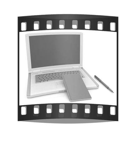 powerbook: laptop and notepad on a white background. The film strip with place for your text