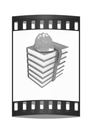 literary: Stack of leather technical book with belt and hard hat on white background. The film strip with place for your text. The film strip