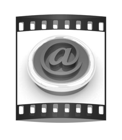 ed: Button email Internet push on a white background. The film strip