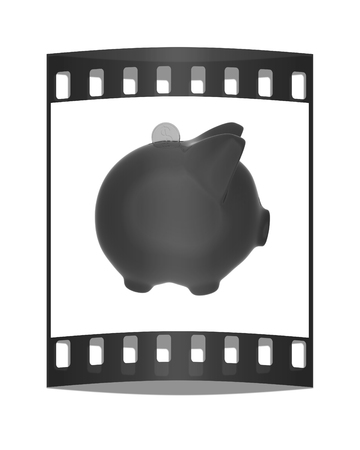 path to wealth: piggy bank and falling coins on white background. The film strip
