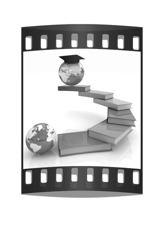 globally: The growth of education. Globally. On a white background. The film strip