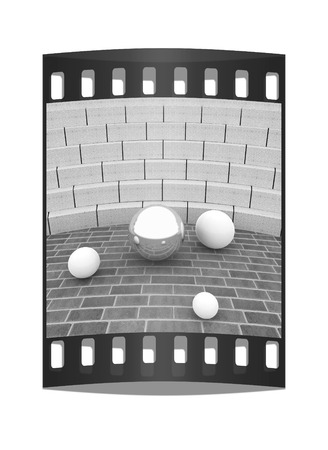 tribune: Abstract futuristic interior. Brick scene and tribune with chrome sphere and white balls. The film strip