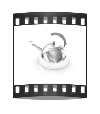 stainless steel pot: Glossy chrome kettle on a white background. The film strip
