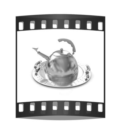 Gold teapot on platter on a white background. The film strip