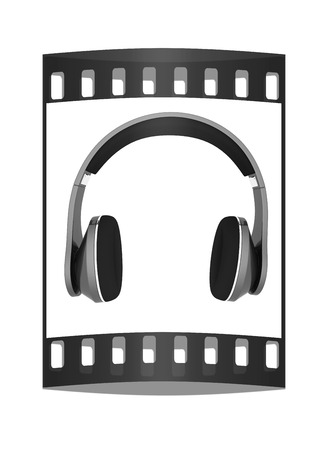 headset voice: headphones on a white background. The film strip