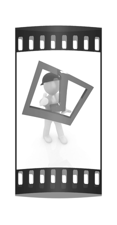 alright: 3d man in a red peaked cap with thumb up and a huge tick on a white background. The film strip Stock Photo