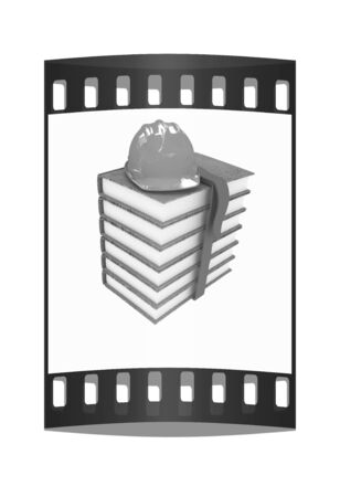 Stack of leather technical book with belt and hard hat on white background. The film strip