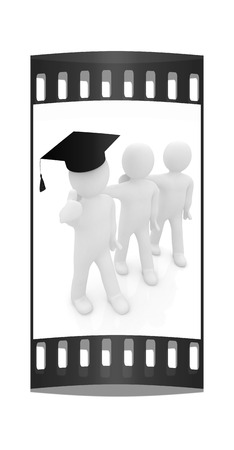 man's thumb: 3d man in a graduation Cap with thumb up and 3d mans stand arms around each other on a white background. The film strip