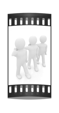 3d man with thumb up and 3d mans stand arms around each other on a white background. The film strip