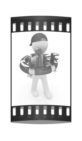 salvavidas: Concepto de la vida de ahorro con la ilustración man.3d 3d. La tira de película