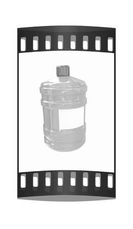 distilled water: Bottle with clean blue water on a white background. The film strip