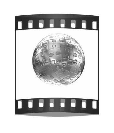 meta: Puzzle abstract sphere on a white background. The film strip Stock Photo
