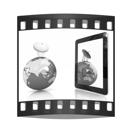 gprs: The concept of mobile high-speed Internet and planet earth on a white background. The film strip Stock Photo