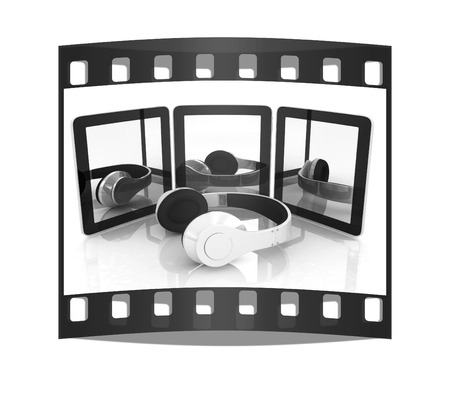phone and headphones on a white background. The film strip
