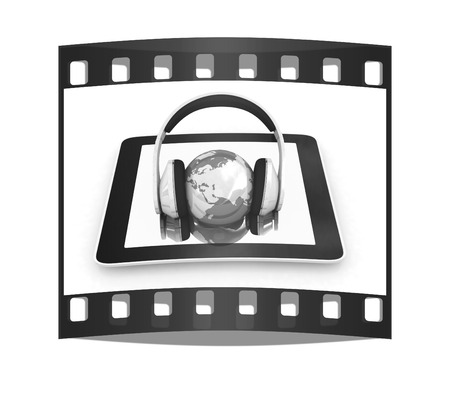 phone and headphones.Global on a white background. The film strip
