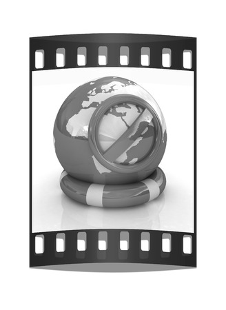 ban aid: Earth on a lifeline.concept of protection. The film strip Stock Photo