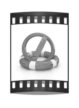 ban aid: sign a ban on lifeline on a white background. The film strip