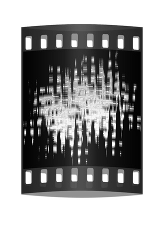 digital darkness background (white and blue). The film strip photo
