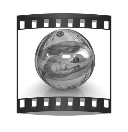 making earth: Sphere from  dollar. The film strip Stock Photo