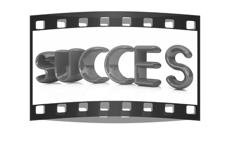 succes: 3d red text succes on a white background. The film strip