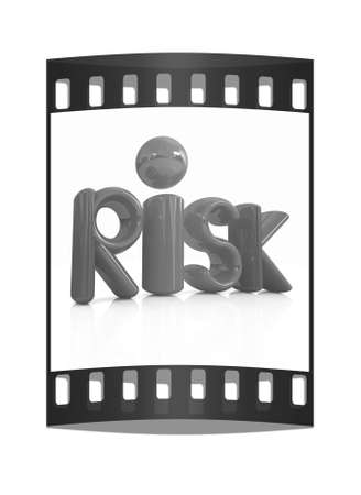 risky: 3d red text risk on a white background. The film strip