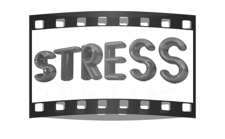 punished: stress 3d text on a white background. The film strip