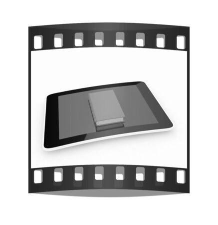 multitouch: tablet pc and book on white background. The film strip