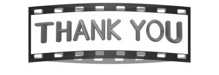 """agradecimiento: """"Gracias"""" texto rojo 3d sobre un fondo blanco. La tira de película Foto de archivo"""