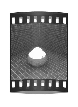 chrome ball: The chrome ball in the corner of a brick. The film strip Stock Photo