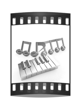 quavers: 3d note on a piano on a white background. The film strip