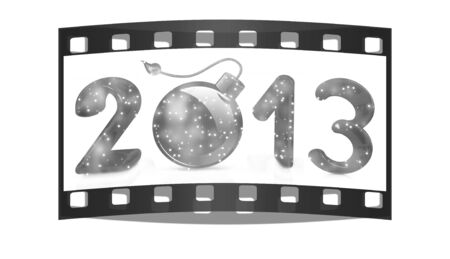 Year 2013 with bomb burning on a white background. The film strip photo
