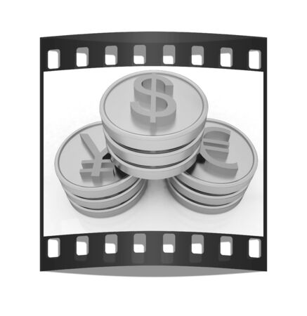 major: gold coins with 3 major currencies on a white background. The film strip