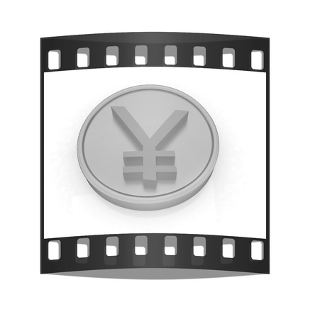 yen sign: Gold coin with yen sign on a white background. The film strip